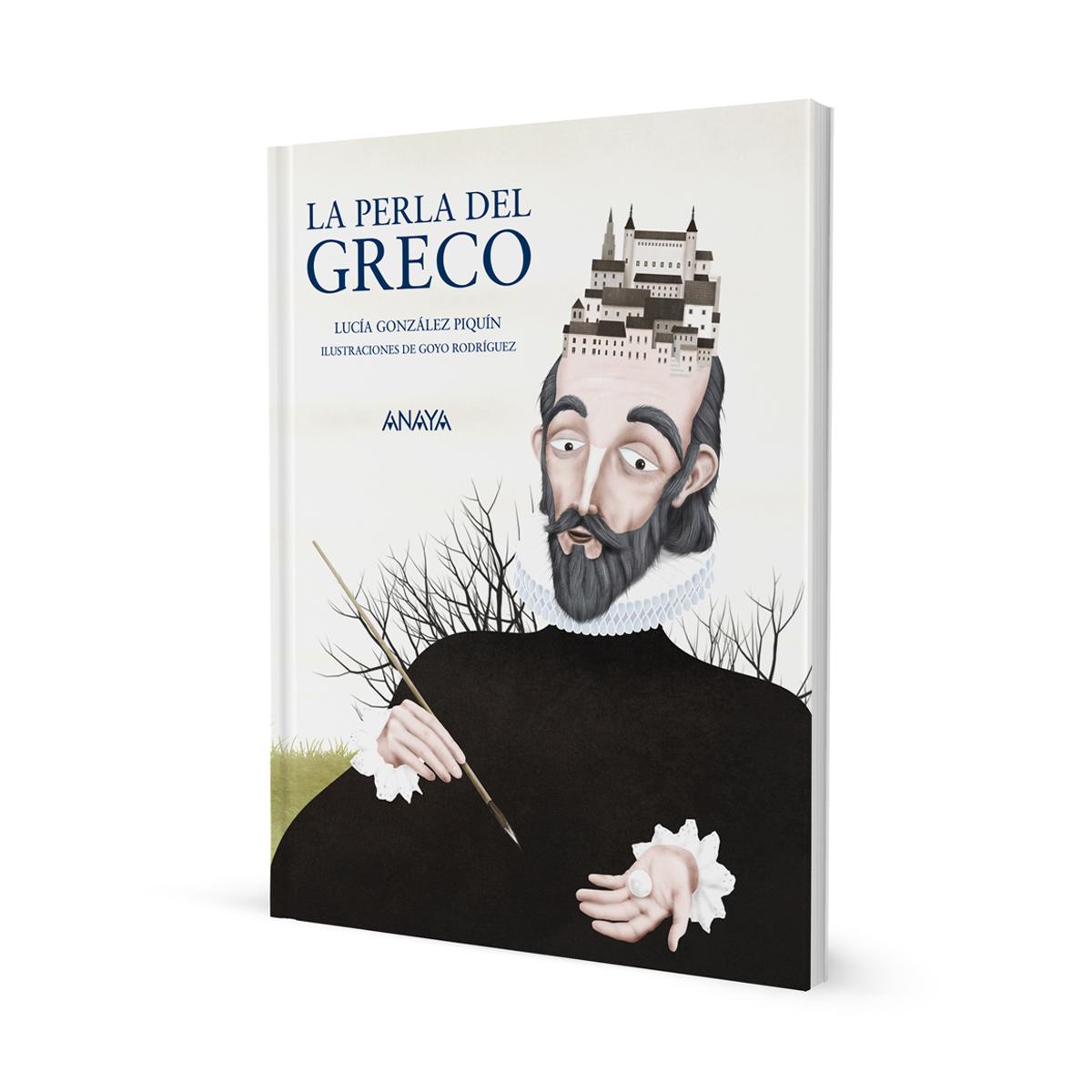 La Perla del Greco. Portada Libro infantil ilustraciones Goyo Rodríguez.