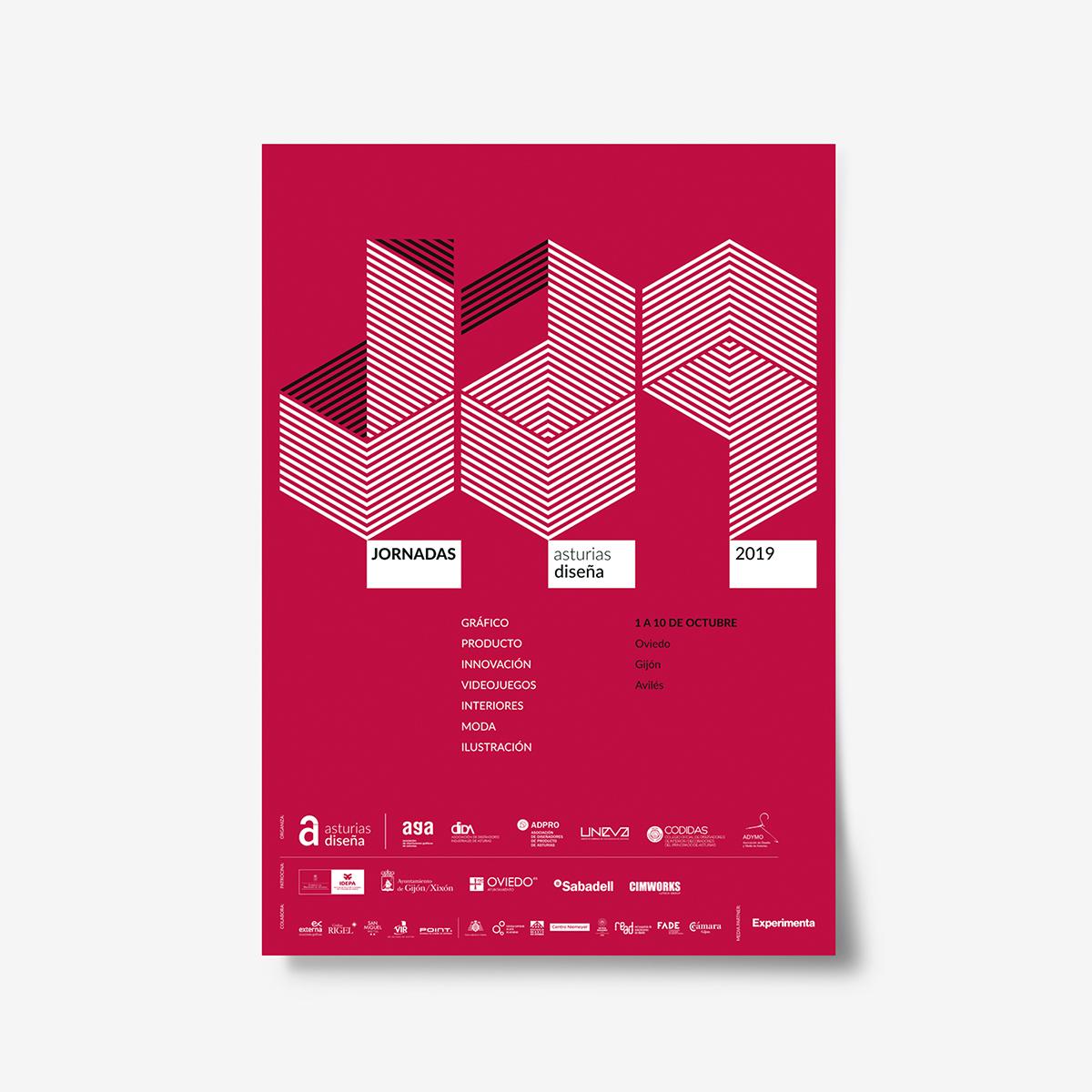 Jornadas Asturias Diseña 2019. Carteles de la serie diseñados by Goyo Rodriguez