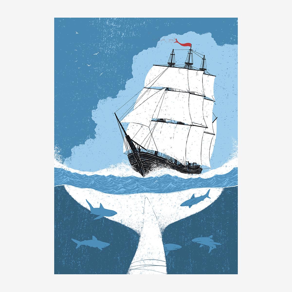 Portadilla Moby Dick ilustrado por Goyo Rodríguez