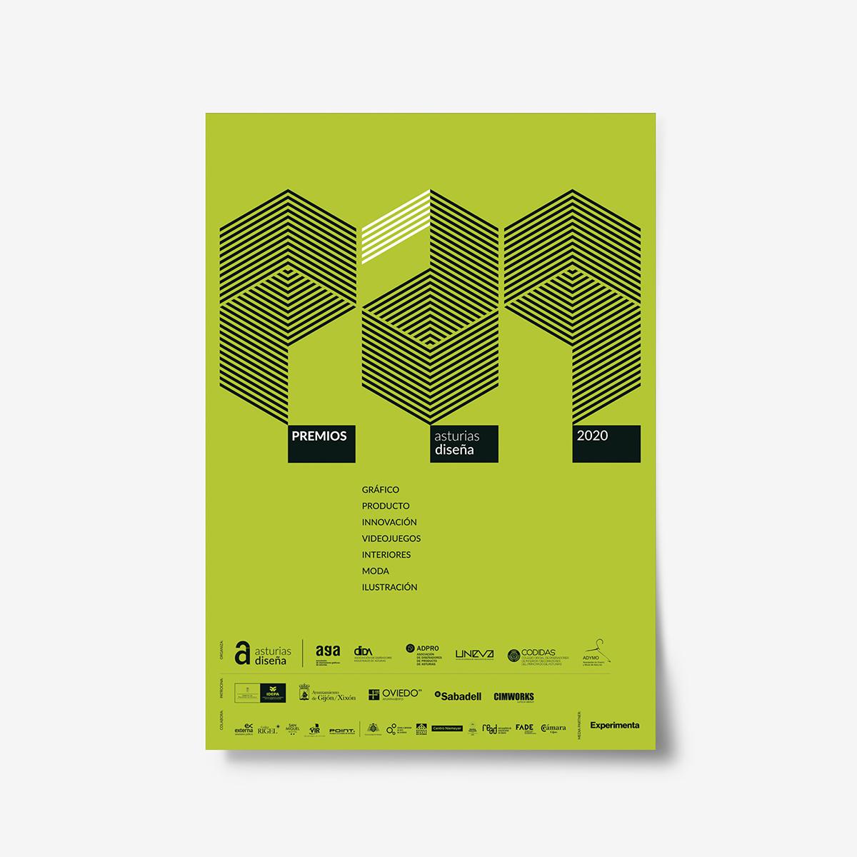 Cartel Premios Jornadas Asturias Diseña 2019. Serie de carteles diseñados por Goyo Rodríguez.