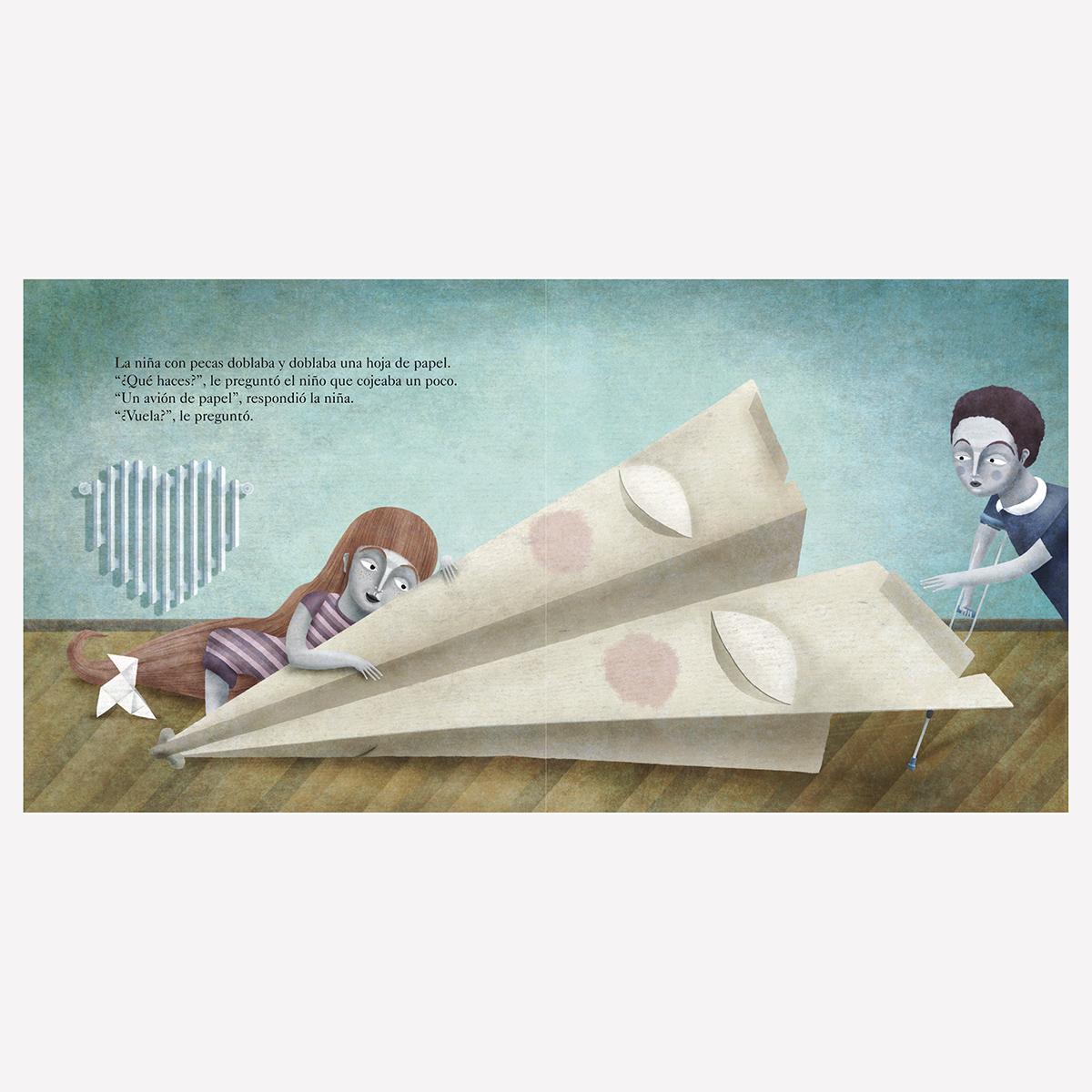 «¿Qué haces?. Un avión de papel». Libro infantil ilustraciones Goyo